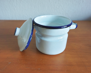 Handgemaakte-emaille-suikerpot-White